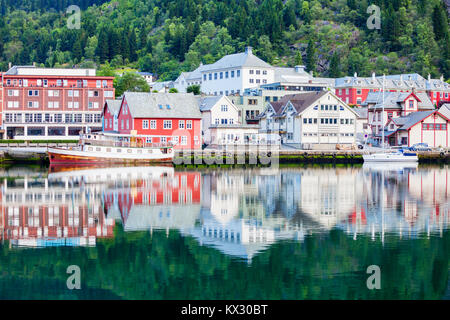 Odda is a town in Odda municipality in Hordaland county, Hardanger district in Norway. Located near Trolltunga rock - Stock Photo