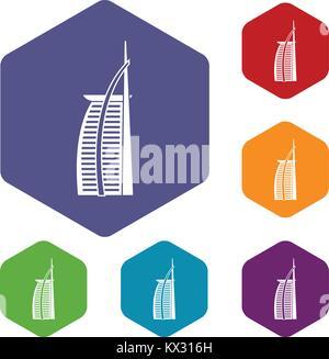 Hotel Burj Al Arab icons set - Stock Photo