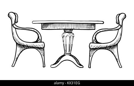 Two chairs and a table. Vector illustration in a sketch style - Stock Photo