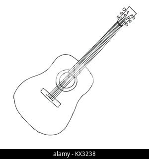 Sketch of a guitar. Vector illustration. Acoustic guitar isolated on white background. - Stock Photo