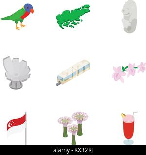 Singapore icons set, isometric 3d style - Stock Photo