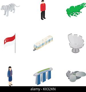 Welcome to Singapore icons set, isometric 3d style - Stock Photo