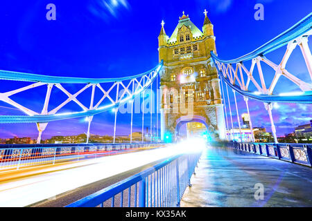 View of Tower Bridge in London at night