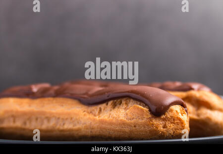 home backed eclairs close up - Stock Photo
