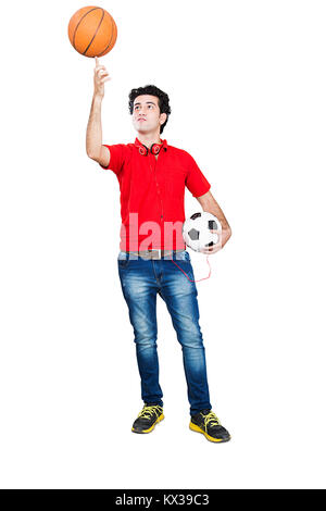 1 Indian College Boy Trying Balance Basketball on his Finger