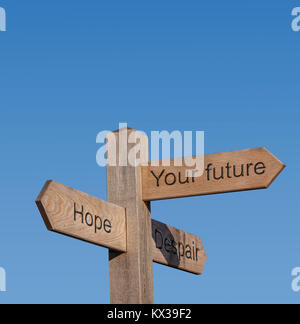 Signpost directions showing hope,despair,your futire. - Stock Photo