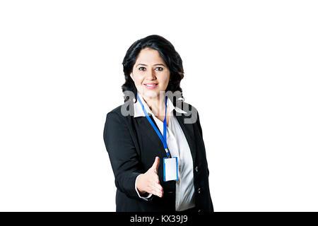 Indian Business Saleswoman Employee Handshake Welcome - Stock Photo