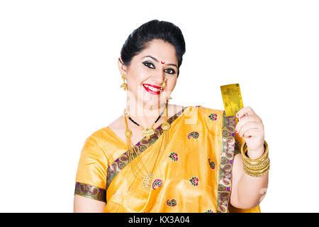 Indian Marathi Woman Diwali Shopping Showing Credit Card - Stock Photo