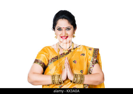 Indian Traditional Marathi Housewife Woman Joined Hands Namaste Welcome - Stock Photo