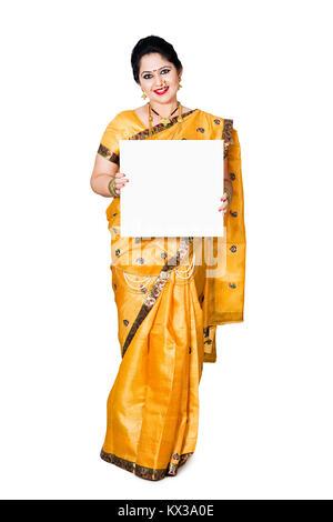 Indian Marathi Woman Showing Message Baord Diwali Shopping - Stock Photo