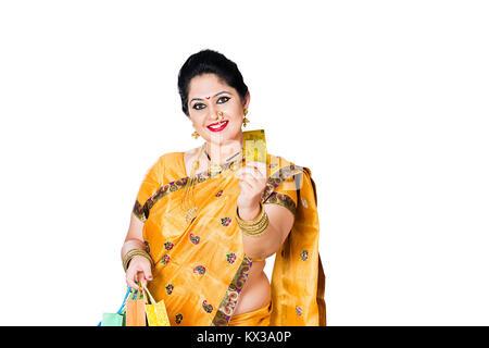 Indian Marathi Woman Diwali Shopping Bag Showing Debit card - Stock Photo