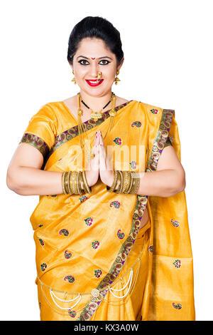 Indian Traditional Female Marathi Joined Hands Greeting Namaste - Stock Photo