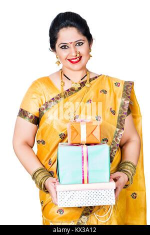 Indian Marathi Woman Housewife Diwali Festival Showing Gift Boxes - Stock Photo