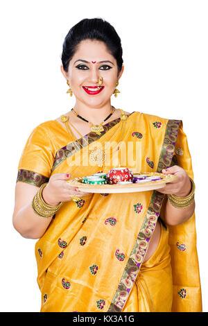 Indian Marathi Woman Diwali Celebration Holding Diyas Lamps Worship - Stock Photo