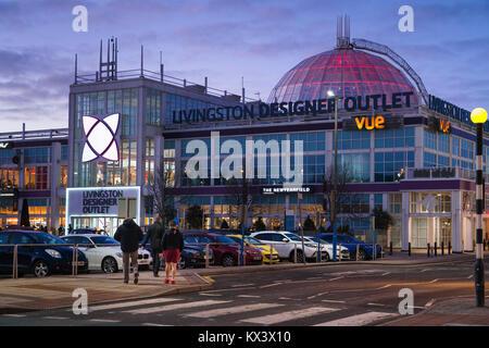 Livingston, Scotland - Almondvale, retail shopping park. The Designer Outlet mall. Evening. - Stock Photo