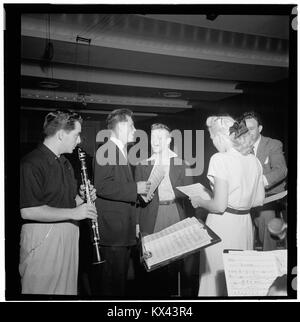 (Portrait of Jerry Wald, Gordon MacRae, Mel Tormé, Marion Hutton, and Jerry Jerome, Saturday Teentimers Show, New - Stock Photo