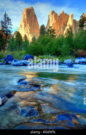 The Crooked River Flowing Through Smith Rock State Park Outside Terrebonne Oregon - Stock Photo