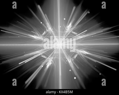 Fission in large hadron collider black and white texture, computer generated abstract background, 3D rendering - Stock Photo