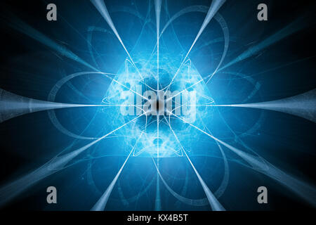 Blue glowing nuclear technology design, computer generated abstract background, 3D rendering - Stock Photo
