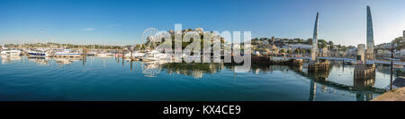 Morning view of Torquay from the Harbour, Panoramic view of the coastal town. Devon, England. August 2017 - Stock Photo