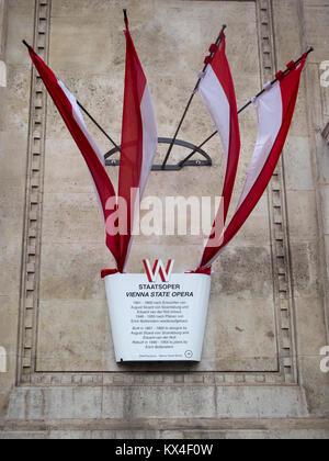 VIENNA, AUSTRIA:  Information Plaque outside Vienna State Opera House (Wiener Staatsoper) - Stock Photo