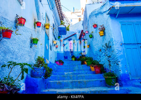 Blue street with colorful flower buckets in Chefchaouen, Morocco - Stock Photo