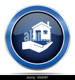 House care vector icon. Modern design blue silver metallic glossy web and mobile applications button in eps 10 - Stock Photo