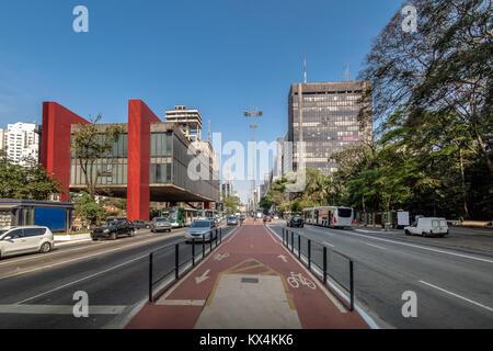 Paulista Avenue and MASP (Sao Paulo Museum of Art) - Sao Paulo, Brazil