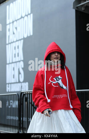London, UK. 7th January, 2018. Street style at London Fashion Week Men's Fall Winter 2018 Credit: WFPA/Alamy Live - Stock Photo