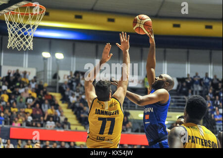 Turin, Italy. 07th Jan, 2018. during the CAMPIONATO BASKET SERIE A 2017/18 basketball match between FIAT AUXILIUM - Stock Photo