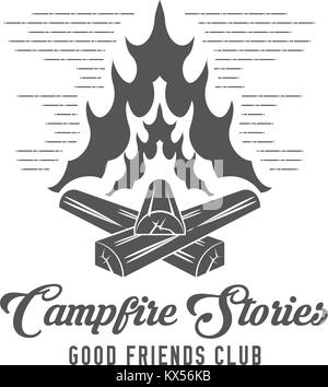 Campfire Stories - Forest Camp - Scout Club Vector Emblem - Stock Photo
