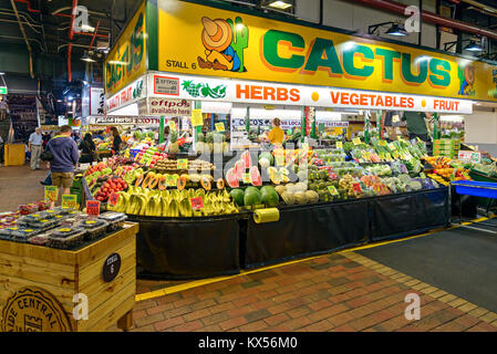Adelaide, Australia - January 13, 2017: Fruits and vegetables on display in Adelaide Central Market stall - Stock Photo