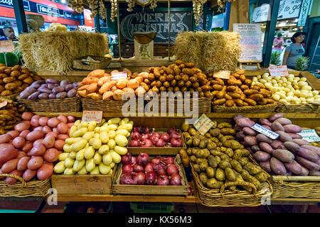 Adelaide, Australia - January 13, 2017: Vegetables on display in Adelaide Central Market stall - Stock Photo