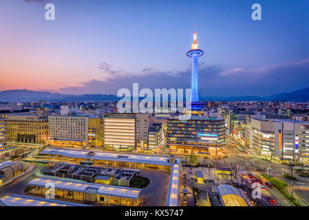 Kyoto, Japan downtown skyline and tower. - Stock Photo