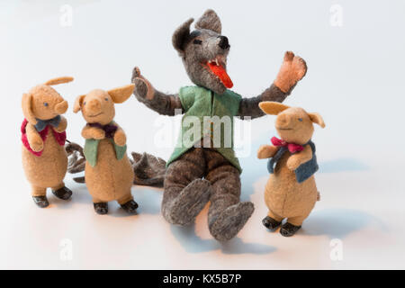 'Three Little Pigs' Vintage Storybook Characters - Stock Photo