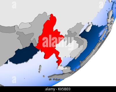3D render of Myanmar on political globe with transparent oceans. 3D illustration. - Stock Photo