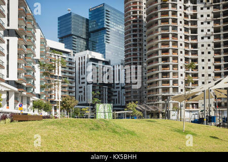 construction of residential apartment blocks, Tel Aviv, Israel - Stock Photo