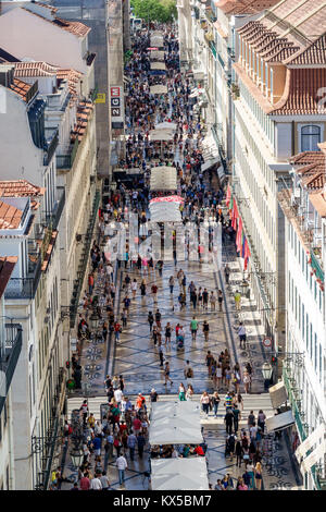 Lisbon Portugal Baixa Chiado historic center Rua Augusta pedestrian mall promenade overhead aerial view panoramic - Stock Photo