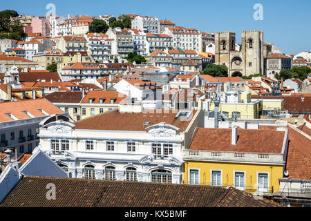 Lisbon Portugal Baixa Chiado historic center overhead aerial view panoramic city skyline rooftops red barrel tile - Stock Photo