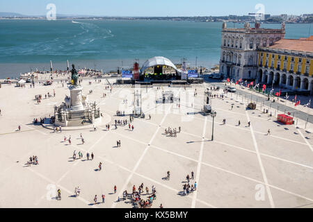 Portugal, Lisbon, Tagus River, Baixa, Chiado, historic center, Terreiro do Paco, Praca do Comercio, Commerce Square, public plaza, waterfront, overhea