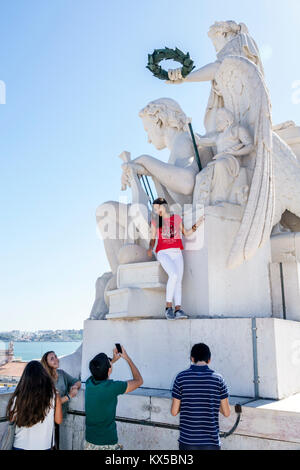 Lisbon Portugal Baixa Chiado historic center Arco da Rua Augusta arch viewing platform Celestin Anatole Calmels - Stock Photo