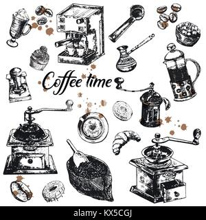 Hand drawn sketch set of coffee themed objects. Vector illustration isolated on white background. - Stock Photo