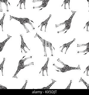 Seamless pattern of hand drawn sketch style giraffes. Vector illustration isolated on white background. - Stock Photo