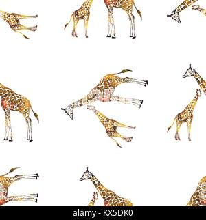 Seamless pattern of hand drawn sketch style giraffes. Vector illustration. - Stock Photo