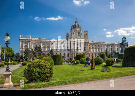 Naturhistorisches Museum (Natural History Museum) with park and sculpture in Vienna, Austria - Stock Photo