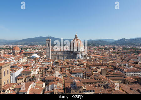Italy, Florence - May 18 2017: the view of the Florence Cathedral and red roofs in a sunny day on May 18 2017 in - Stock Photo