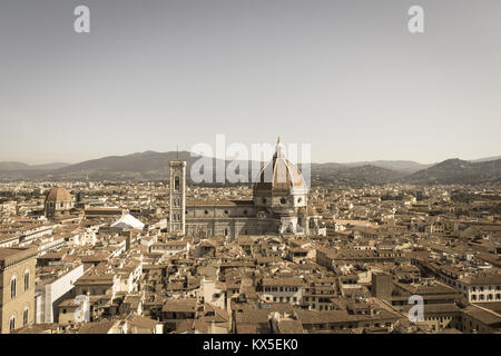 Italy, Florence - May 18 2017: the view of the Florentine cityscape and Florence Cathedral in a sunny day on May - Stock Photo
