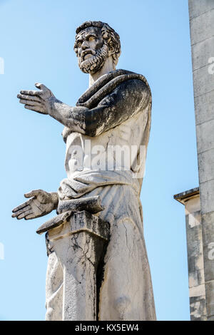 Coimbra Portugal University of Coimbra Universidade de Coimbra College of Letters campus statue sculptor Barata - Stock Photo