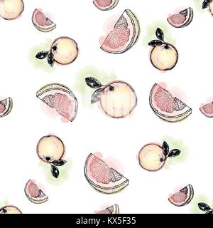 Seamless pattern of hand drawn sketch style oranges - whole with leaf and slice. Isolated vector illustration. - Stock Photo