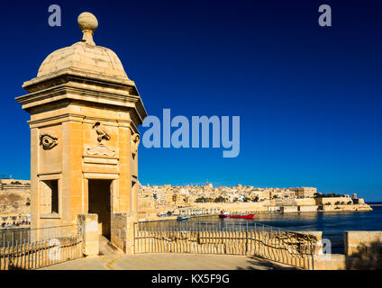 La Guardiola and grand harbour Valletta, european capital of culture in 2018, Malta, Europe - Stock Photo